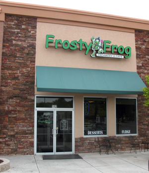 Front door welcomes you to Frosty Frog Creamery & Café