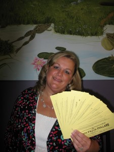 Robin Vanderlip with her CASH FOR CLUCKERS winnings!